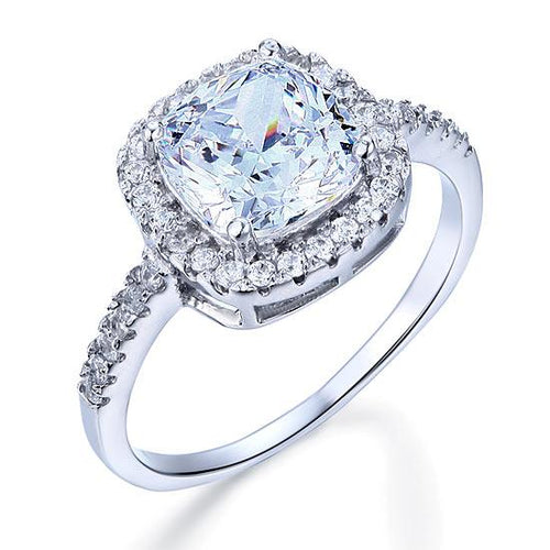 Solid 925 Sterling Silver Bridal Wedding Anniversary Engagement Ring 3 Carat Cushion Cut XFR8138