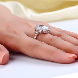 Rebel. Solid 925 Sterling Silver Luxury Engagement Ring 6 Ct Cushion Created Diamond