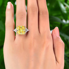 Load image into Gallery viewer, Solid 925 Sterling Silver Three-Stone Luxury Ring 8 Carat Yellow Canary Created Diamond