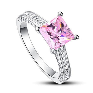 Rebel. 1.5 Carat Princess Cut Fancy Pink Created Diamond 925 Sterling Silver Wedding Engagement Ring XFR8195