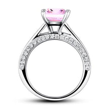 Load image into Gallery viewer, Rebel. 1.5 Carat Princess Cut Fancy Pink Created Diamond 925 Sterling Silver Wedding Engagement Ring XFR8195