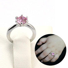 Load image into Gallery viewer, Rebel. Newborn Baby 925 Sterling Silver Ring Pink Created Diamond Photo Prop XFR8208