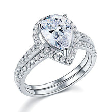 Load image into Gallery viewer, Solid Sterling 925 Silver Bridal Wedding Promise Engagement Ring Set 2 Ct Pear Jewelry XFR8224