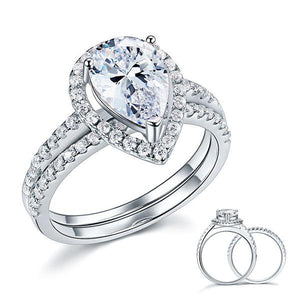 Rebel. Solid Sterling 925 Silver Bridal Wedding Promise Engagement Ring Set 2 Ct Pear Jewelry XFR8224