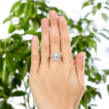 Load image into Gallery viewer, Rebel. Solid Sterling 925 Silver Bridal Wedding Promise Engagement Ring Set 2 Ct Pear Jewelry XFR8224