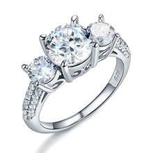 Load image into Gallery viewer, Rebel. 925 Sterling Silver 3-Stone Wedding Ring 2 Carat Created Diamond Jewelry Vintage Style XFR8225