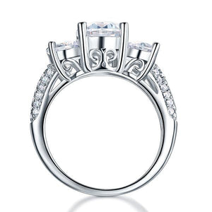 Rebel. 925 Sterling Silver 3-Stone Wedding Ring 2 Carat Created Diamond Jewelry Vintage Style XFR8225