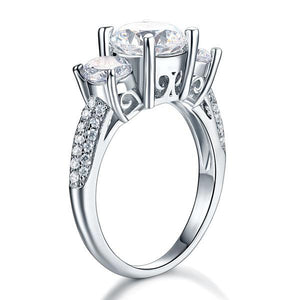 925 Sterling Silver 3-Stone Wedding Ring 2 Carat Created Diamond Jewelry Vintage Style XFR8225