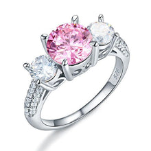 Load image into Gallery viewer, 925 Sterling Silver 3-Stone Wedding Ring 2 Carat Fancy Pink Created Diamond Jewelry Vintage Style XFR8227