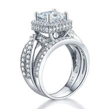 Load image into Gallery viewer, Solid 925 Sterling Silver Wedding Anniversary Engagement Ring Set Vintage Style Princess XFR8234