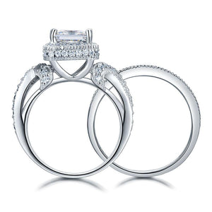 Solid 925 Sterling Silver Wedding Anniversary Engagement Ring Set Vintage Style Princess XFR8234