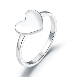 Plain Solid 925 Sterling Silver Ring Heart Fashion Trendy Stylish XFR8288