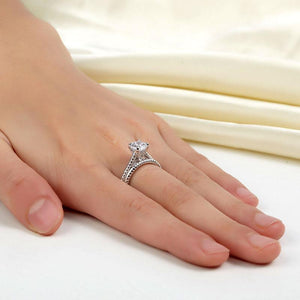 Rebel. Promise Engagement 2-PC Solid Sterling 925 Silver Twist Solitaire Ring Set Bridal Jewelry XFR8291