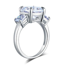 Load image into Gallery viewer, Cushion Cut 4 Carat Solid 925 Sterling Silver Ring Three-Stone Pageant Luxury Jewelry XFR8309