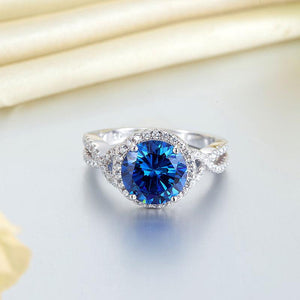 3 Carat Navy Blue Stone 925 Sterling Silver Wedding Engagement Luxury Ring Promise Anniversary XFR8314