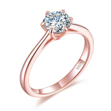Load image into Gallery viewer, 1 Carat 6 Claws Wedding Classic Engagement Ring Solitaire Solid 925 Sterling Silver Rose Gold Plated XFR8315