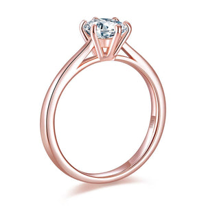 1 Carat 6 Claws Wedding Classic Engagement Ring Solitaire Solid 925 Sterling Silver Rose Gold Plated XFR8315