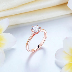 Rebel. 1 Carat 6 Claws Wedding Classic Engagement Ring Solitaire Solid 925 Sterling Silver Rose Gold Plated XFR8315