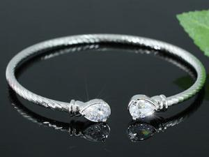 4 Carat Pear Cut Created CZ Stone Bangle XSB050