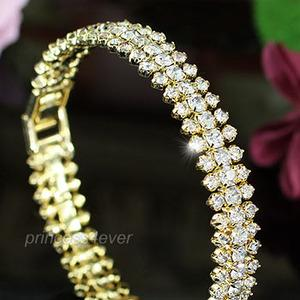 Clear Austrian Crystals Gold Plated Bangle XSB084