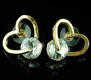 Heart Gold Plated Earrings use Swarovski Crystal XE133