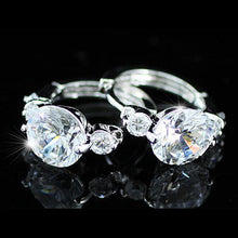 Load image into Gallery viewer, 3 Carat CZ Cubic Zirconia Created Diamond Huggie Earrings XE163