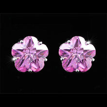 Load image into Gallery viewer, 3 Carat Flower Pink Created Sapphire Stud Earrings XE239