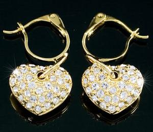 Heart Gold Plated Earrings use Swarovski Crystal XE261