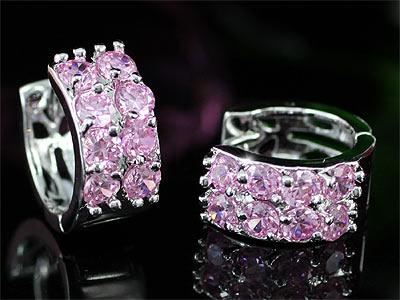 1.5 Carat Created Pink Sapphire Huggie Earrings XE348