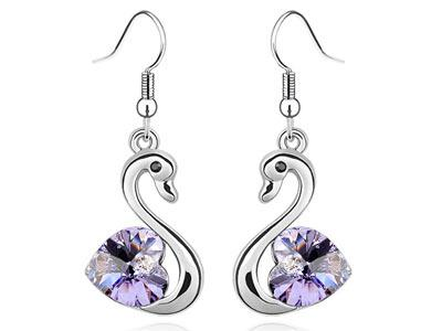3 Carat Purple Dangle Swan Earrings use Austrian Crystal XE474