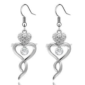 Dangle Heart Earrings use Austrian Crystal XE489