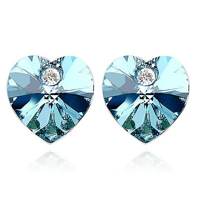 3 Carat Aqua Blue Heart Earrings use Austrian Crystal XE502