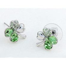 Load image into Gallery viewer, 4 Leaf Clover Flower Green Earrings use Austrian Crystal XE518