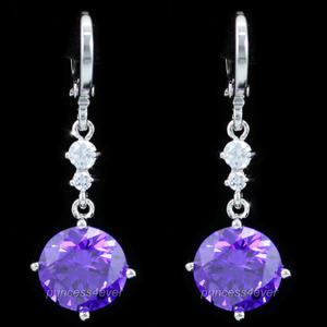 Dangle Heart 2 Carat Purple Created Sapphire Earrings XE547