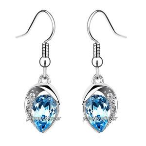 Blue Dangle Pear Cut Earrings use Austrian Crystal XE571