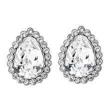 Load image into Gallery viewer, 2 Carat Silver Clear Pear Cut Stud Earrings use Austrian Crystal XE572