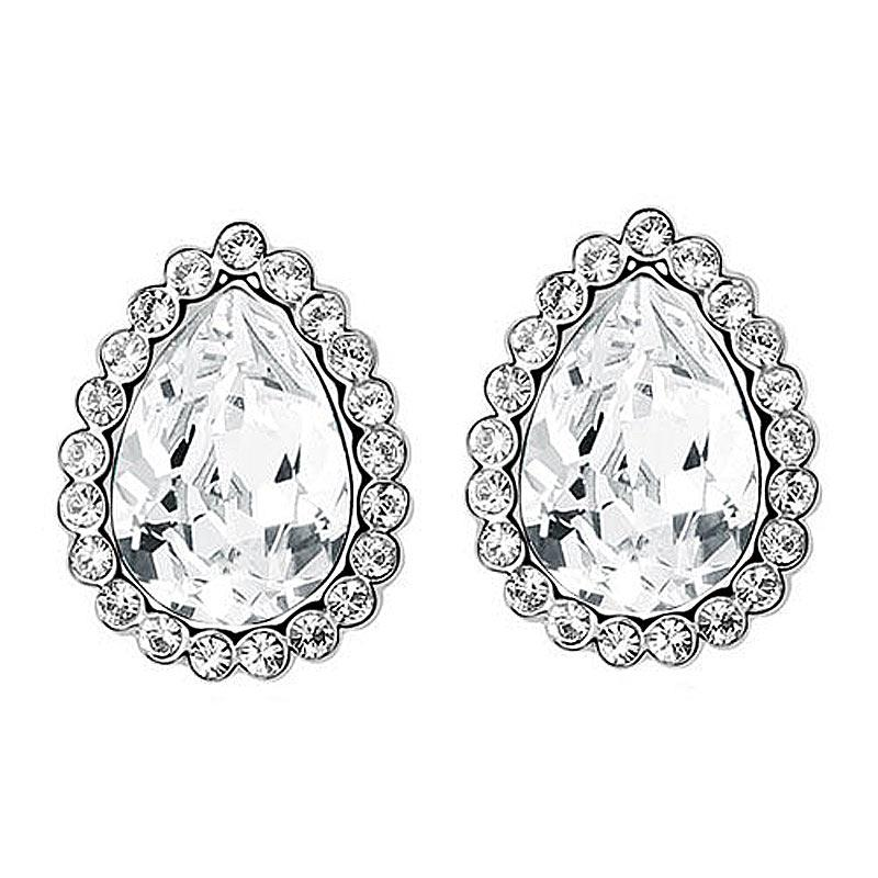 2 Carat Silver Clear Pear Cut Stud Earrings use Austrian Crystal XE572