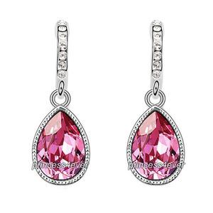 Pink Dangle Pear Cut Earrings use Swarovski Crystal XE577