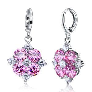 Dangle Flower 2.5 Carat Pink Created Sapphire Earrings XE582