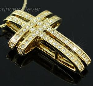 Cross Gold Plated Necklace use Austrian Crystal XN117