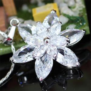 Sparkling CZ Simulated Diamond Flower Pendant Necklace XN137