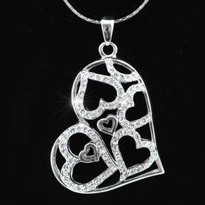 3D Heart Pendant Necklace use Austrian Crystal XN150