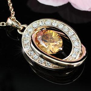 Rose Gold Plated 5 Carat Sapphire Pendant Necklace XN169