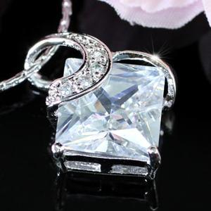 3.5 Carat Princess Cut Created CZ Pendant Necklace XN176