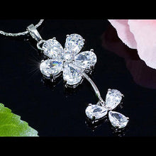 Load image into Gallery viewer, 10 Carat Dangle Flower Created CZ Necklace Earrings Set XN187