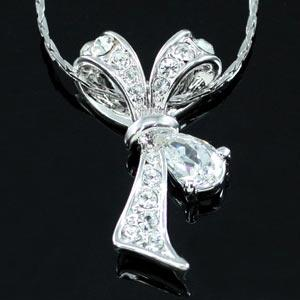 Bow Ribbon Necklace use Austrian Crystal XN191