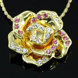 Gold Plated Rose Necklace use Swarovski Crystal XN194