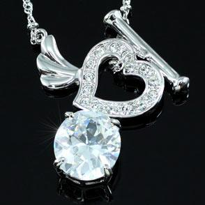 6 Carat CZ Created Heart Necklace use Austrian Crystal XN233
