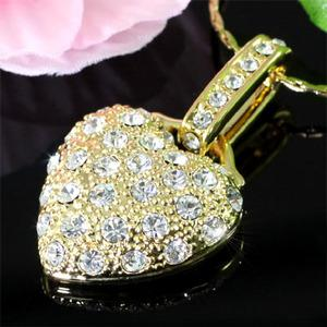 Heart Gold Plated Necklace use Swarovski Crystal XN234