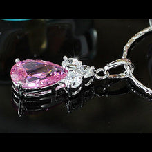 Load image into Gallery viewer, 2.5 Carat Pear Cut Pink Created Sapphire Pendant & Necklace XN282